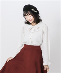 Scallop embroidery collar blouse(Ecru-Free)