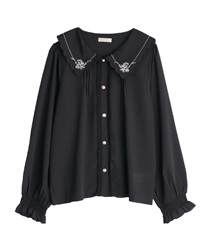Scallop embroidery collar blouse(Black-Free)