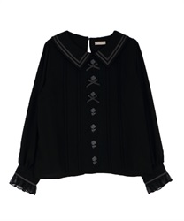 Rose ribbon blouse(Black-Free)