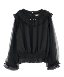 Sheer frill blouse(Black-Free)