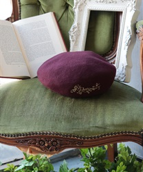 【Global Price】Logo embroidery beret(Wine-M)