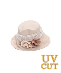 UV Hat with Corsage(Beige-M)
