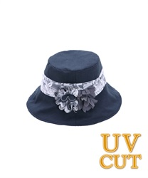 UV Hat with Corsage(Navy-M)