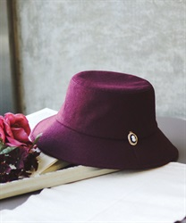 Bucket hat with brooch(Wine-M)