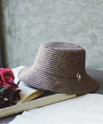 Bucket hat with brooch(Brown-M)