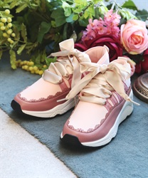Mix material sneaker(Pale pink-S)