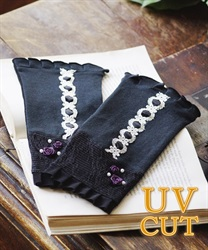 Short lacy UV glove(Black-M)