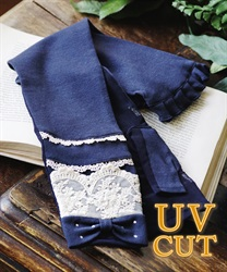 Long ribbon×lacy UV glove(Navy-M)