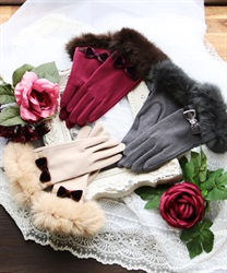 Ribbon fur gloves