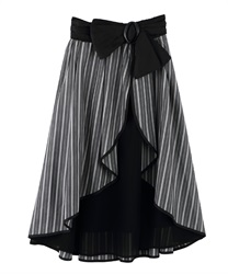 Striped Wrap Design Skirt with Ribbon Belt(Chachol-Free)
