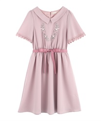 Flower embroidery dress(Pale pink-Free)