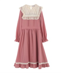 [Special item] Lace blocking long dress(DarkPink-Free)