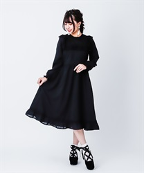 [Special item] Lace blocking long dress(Black-Free)
