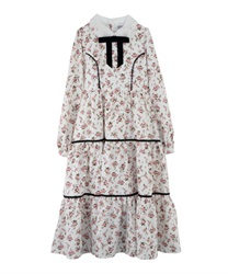 Floral Patterned Long-Lenght Tiered Dress(White-Free)