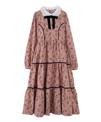 Floral Patterned Long-Lenght Tiered Dress(Pale pink-Free)