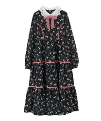 Floral Patterned Long-Lenght Tiered Dress(Black-Free)