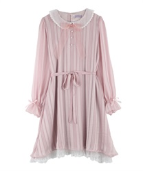 【Uniform price】Dolly Design Irregular-Hem Dress with Organdy Peter Pan Collar(Pale pink-Free)