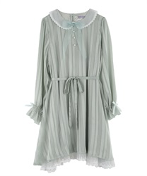 【Uniform price】Dolly Design Irregular-Hem Dress with Organdy Peter Pan Collar(Green-Free)