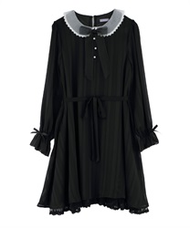 【Uniform price】Dolly Design Irregular-Hem Dress with Organdy Peter Pan Collar(Black-Free)