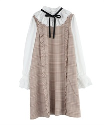 "Plaid Volum Frill Dress with ""Removable Ribbon""(Beige-Free)"