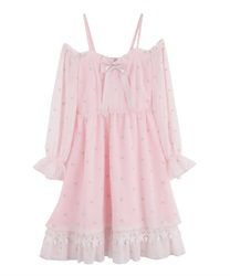 Off-Shoulder Star Dress(Pale pink-Free)