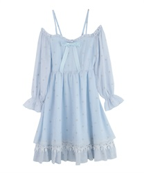 Off-Shoulder Star Dress(Saxe blue-Free)