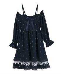 Off-Shoulder Star Dress(Navy-Free)