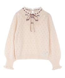Rose embroidery knit pullover(Ecru-Free)