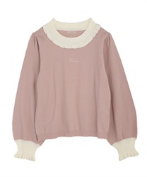 Bicolor knit pullover(Pale pink-Free)