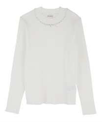 Hi-neck pearl knit pullover(White-Free)