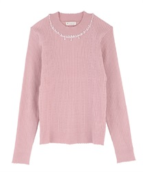 Hi-neck pearl knit pullover(Pale pink-Free)