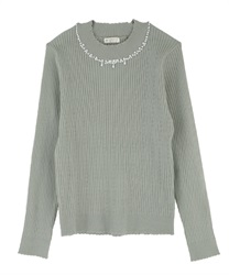 Hi-neck pearl knit pullover(Green-Free)