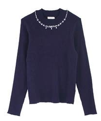 Hi-neck pearl knit pullover(Navy-Free)