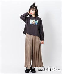 Satin pleated pants(Brown-Free)