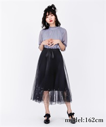 【2Buy20%OFF】Pearl Design Tulle SK(Black-Free)