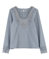 Motif lace jacquard cut pullover(Saxe blue-Free)