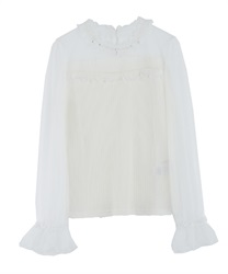 Dot Tulle Switching tops(White-Free)