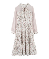 【Uniform price】Flower chiffon dress(Ecru-Free)