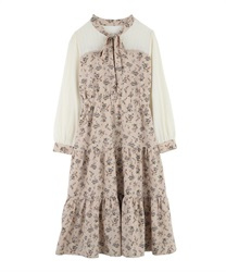 【Uniform price】Flower chiffon dress(Beige-Free)