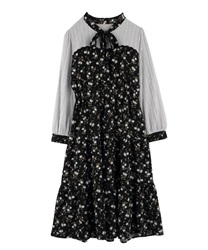 【Uniform price】Flower chiffon dress(Black-Free)