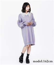 Detachable collar knit one-piece(Purple-Free)