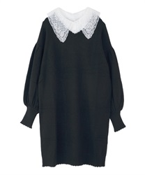 Detachable collar knit one-piece(Black-Free)