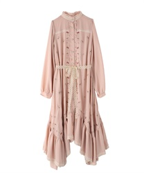 Embroidered Gown Dress(Pale pink-Free)