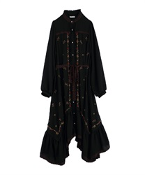Embroidered Gown Dress(Black-Free)