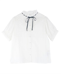Dot Striped Dobby Blouse(Ecru-Free)