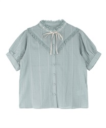 Dot Striped Dobby Blouse(Green-Free)