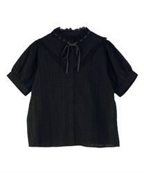 Dot Striped Dobby Blouse(Black-Free)