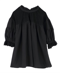 Gathering volume sleeve blouse(Black-Free)