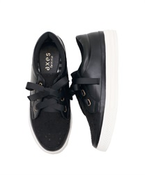【2Buy20%OFF】Lace Sneakers(Black-S)