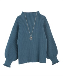 Volume sleeve knit(Blue-Free)